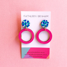 Load image into Gallery viewer, Hazel hand painted bamboo earrings Pink