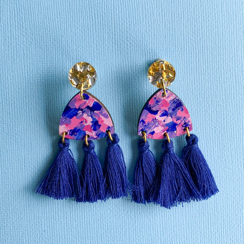 Giselle hand painted wood tassel earrings Blue