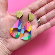 Load image into Gallery viewer, Loopy organic triangle shape wood earrings #1