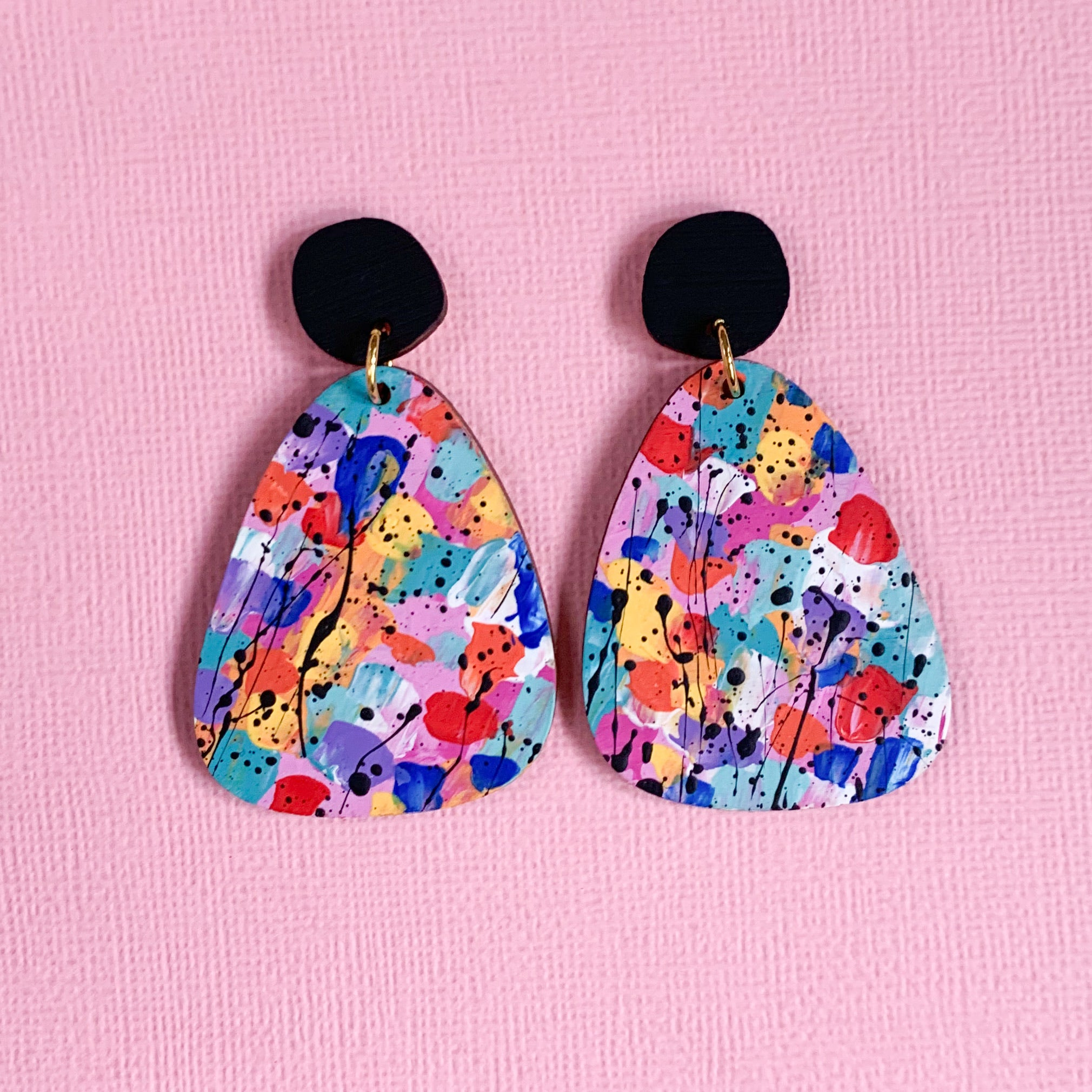 Splatty hand painted wood statement dangles Black rainbow