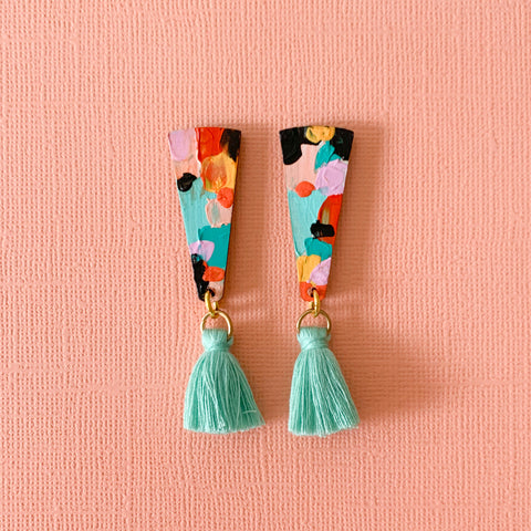 Emily hand painted wood tassel dangles Mint multi