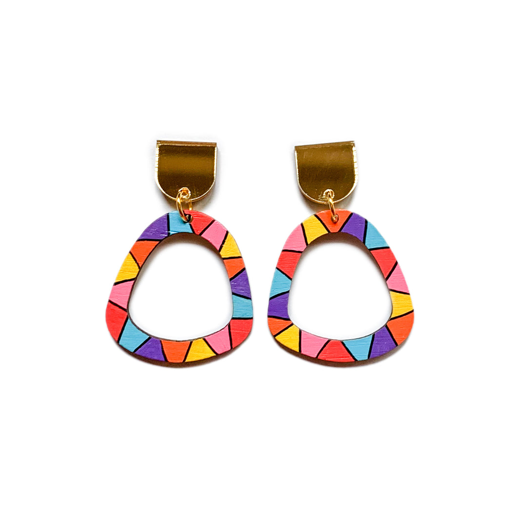 Loopy organic arch wood dangles #3