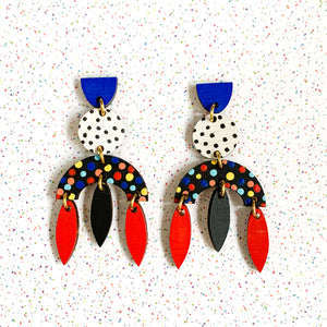 Dotty hand painted wood polka dot statement earrings Black