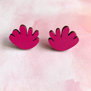 Coral hand painted statement studs Magenta