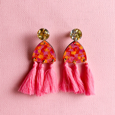Giselle hand painted wood tassel earrings Pink