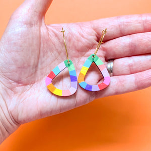Loopy teardrop wood hoop dangles #10