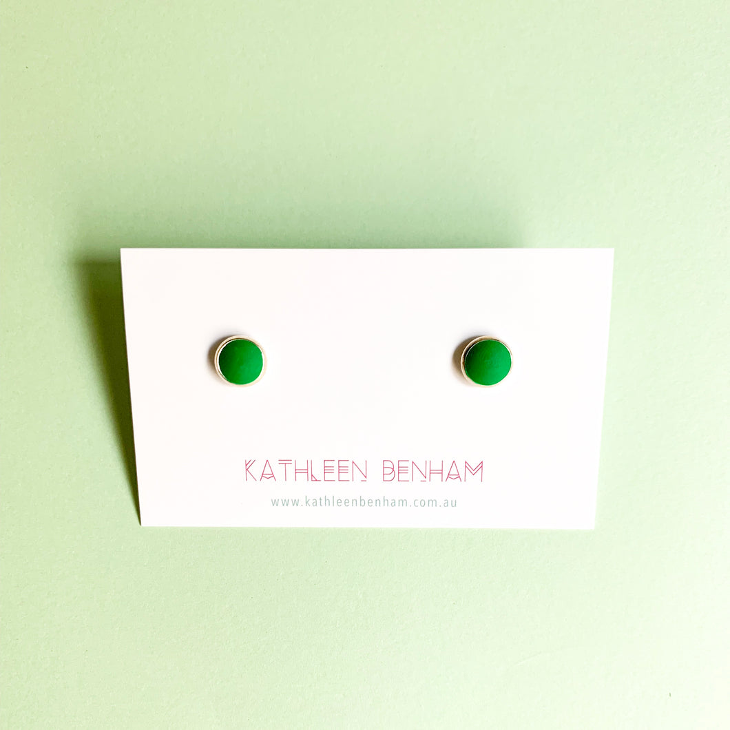 Polymer clay 8mm studs Emerald green