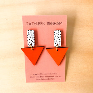 Kylie hand painted wood triangle dangles Orange