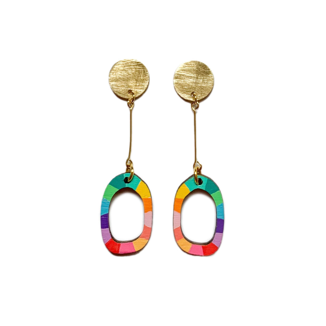 Loopy mini organic oval wood dangles #4