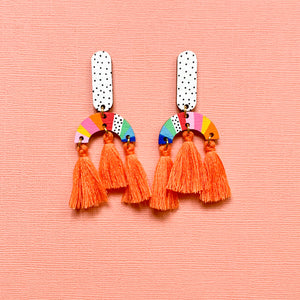 Loopy hand painted wood tassel dangles Orange