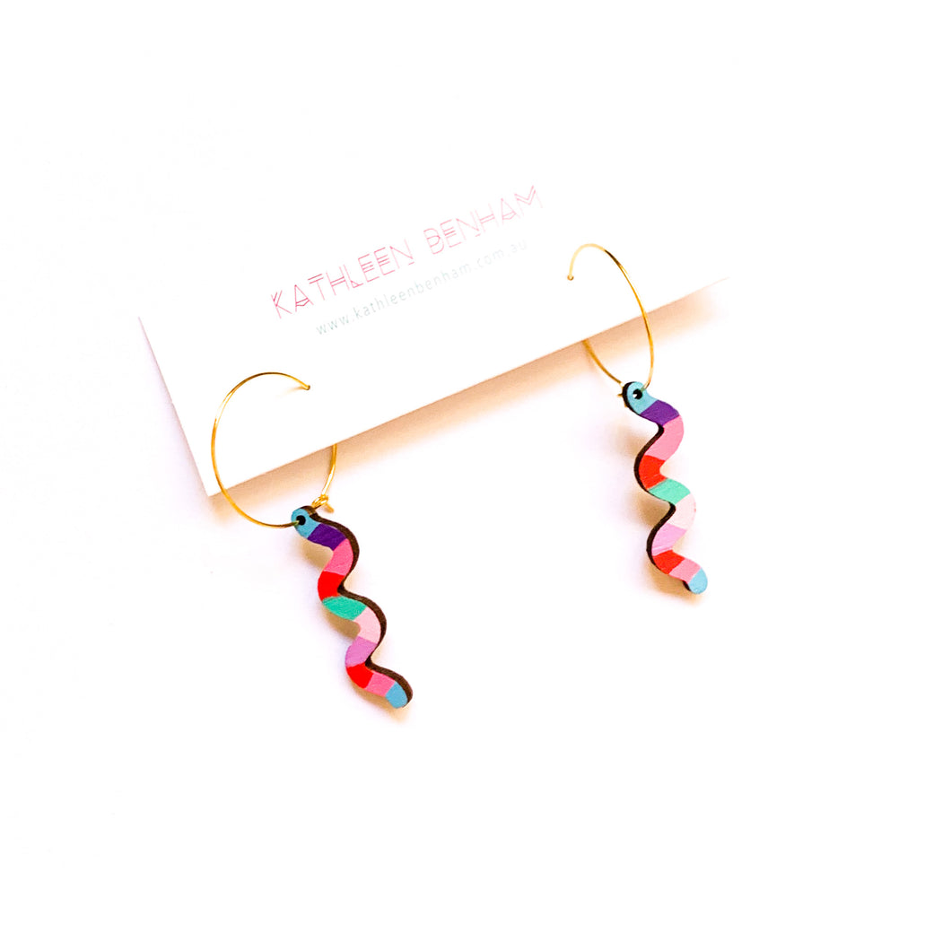 Loopy squiggly wood hoop earrings #3
