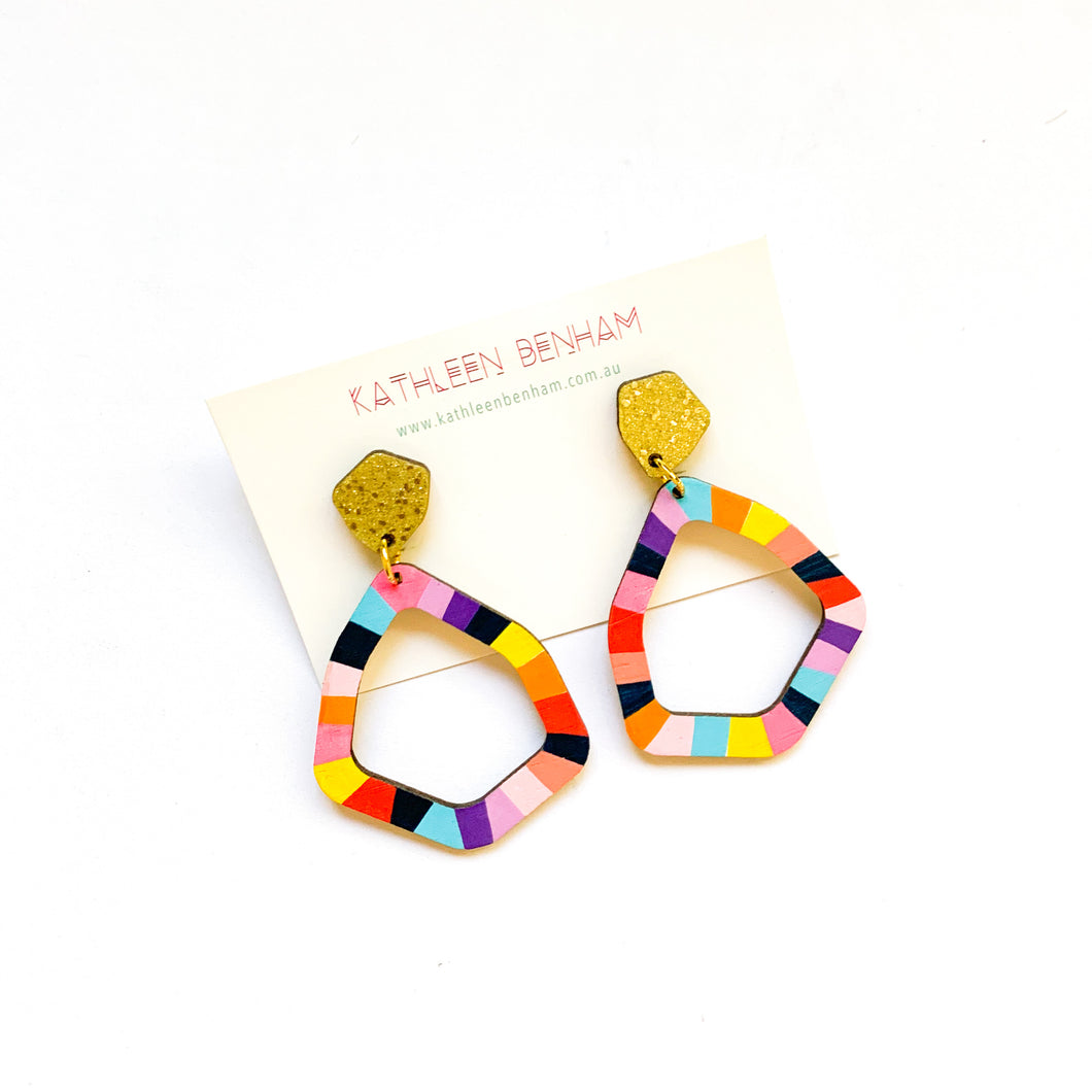 Loopy large geo wood earrings #5