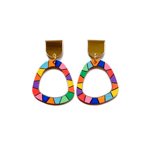 Loopy organic arch wood dangles #6