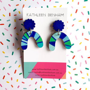 Harper hand painted wood dangles Cobalt