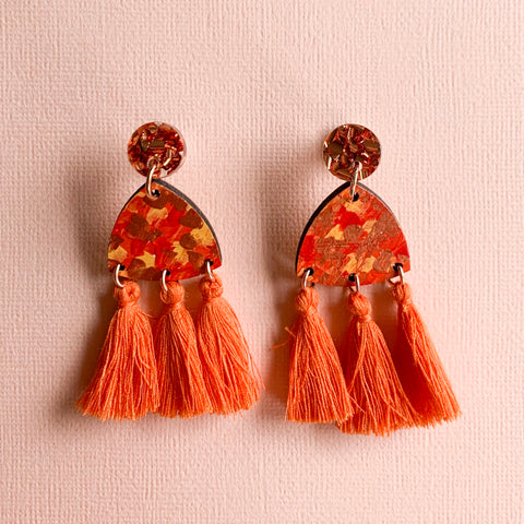 Giselle hand painted wood tassel earrings Orange