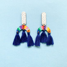 Load image into Gallery viewer, Loopy hand painted wood tassel dangles Blue