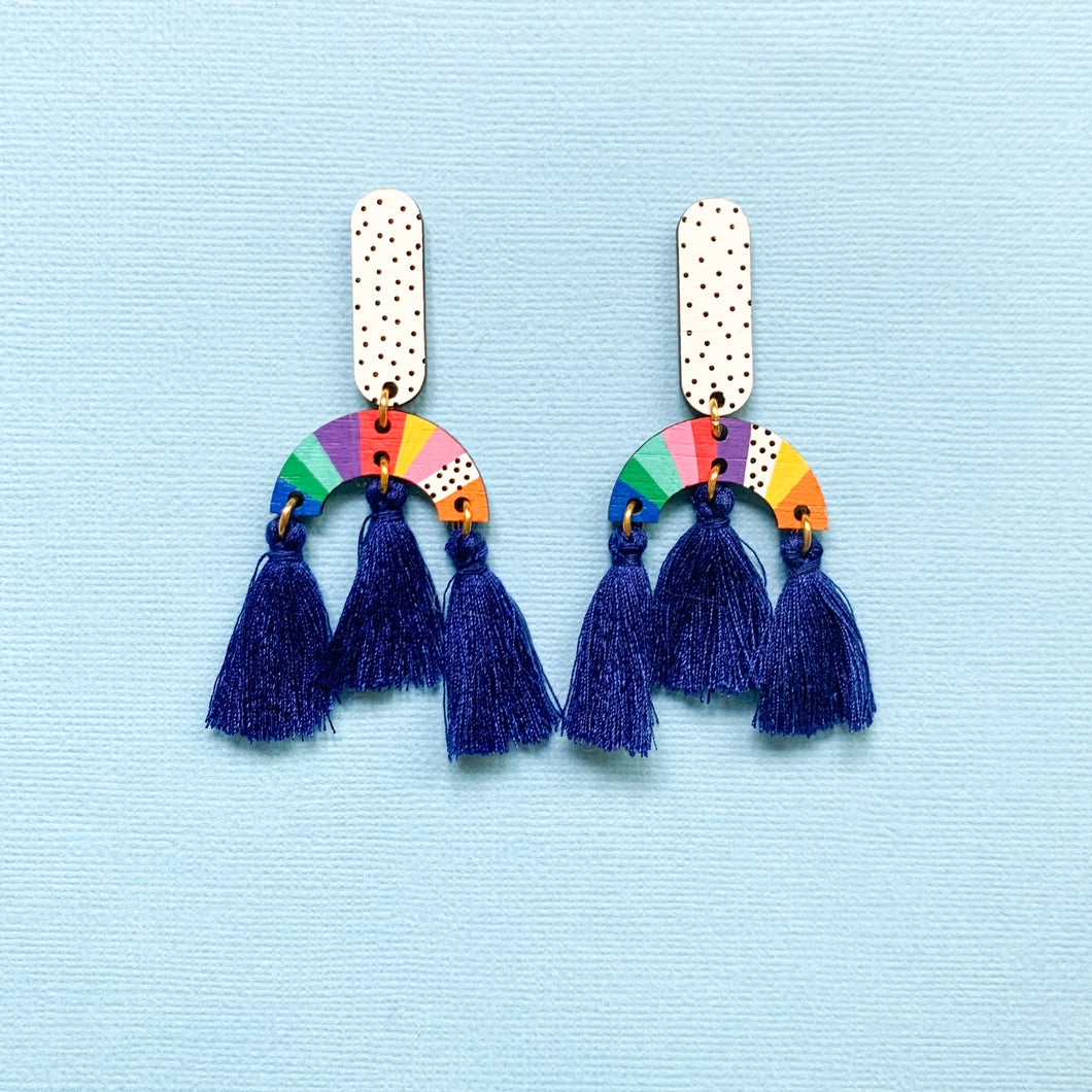 Loopy hand painted wood tassel dangles Blue