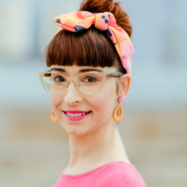 Ava hand painted bamboo earrings Mustard/pink