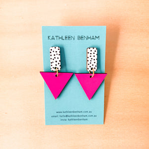 Kylie hand painted wood triangle dangles Hot pink
