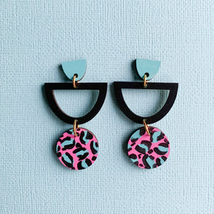 Layla hand painted leopard print wood semi circle dangles Pink