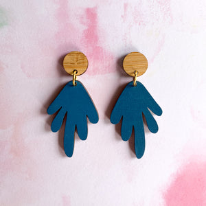 Coral hand painted wood dangles Teal