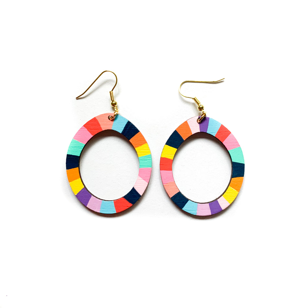 Loopy oval wood earrings #6