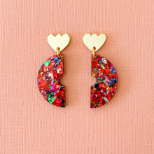 Load image into Gallery viewer, Fireworks glitter acrylic semi circle earrings