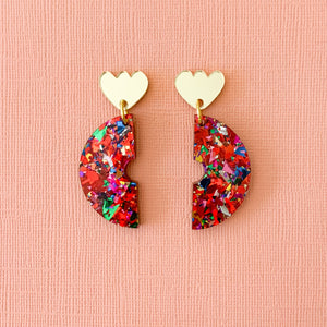 Fireworks glitter acrylic semi circle earrings