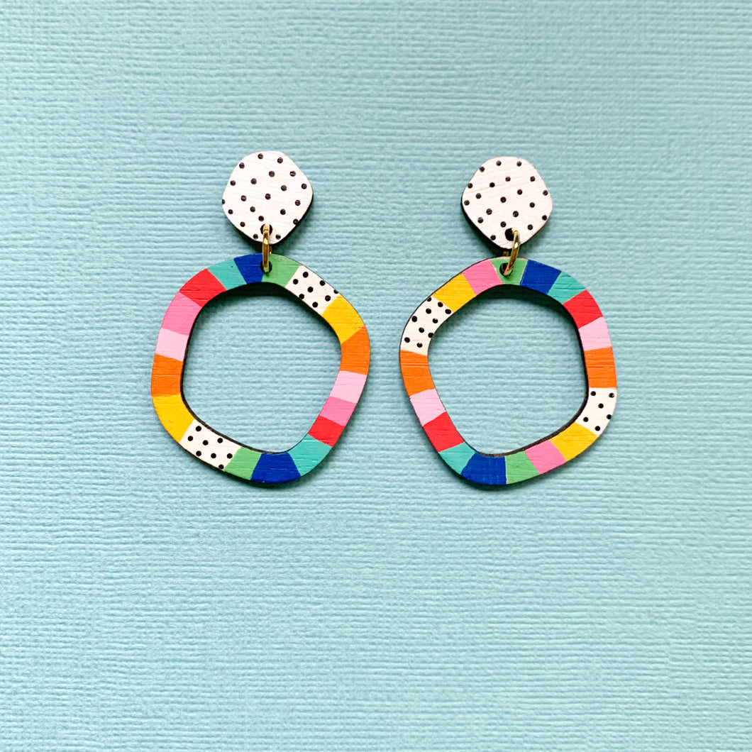 Loopy hand painted organic shape wood dangles Multi 3