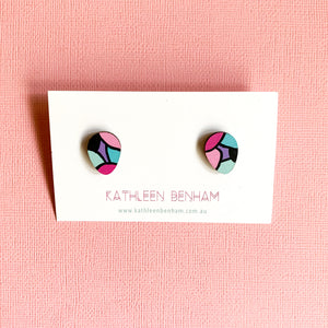 Greta hand painted statement studs Black & Pink