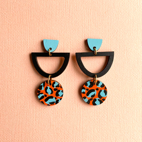Layla hand painted leopard print wood semi circle dangles Orange