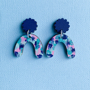 Imogen hand painted wood dangles Navy