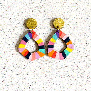 Loopy small geo wood earrings #5