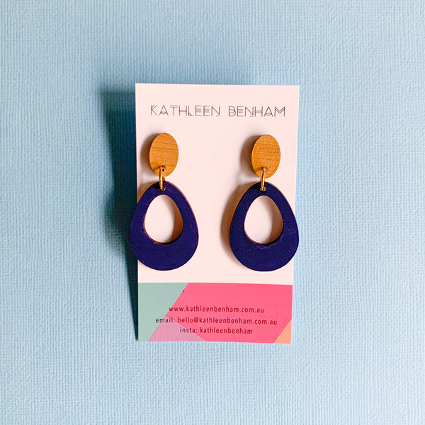 Ava hand painted bamboo earrings Navy/gold