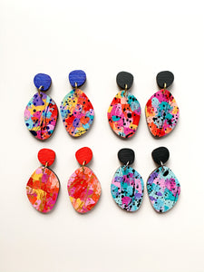 Splatty hand painted wood dangles Aqua