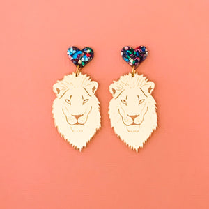 Leonardo Lion gold mirror acrylic dangles