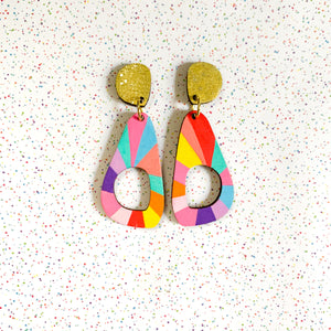 Loopy organic shape wood earrings #1