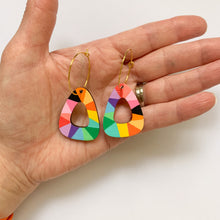 Load image into Gallery viewer, Loopy rounded triangle wood hoop dangles Rainbow/Black