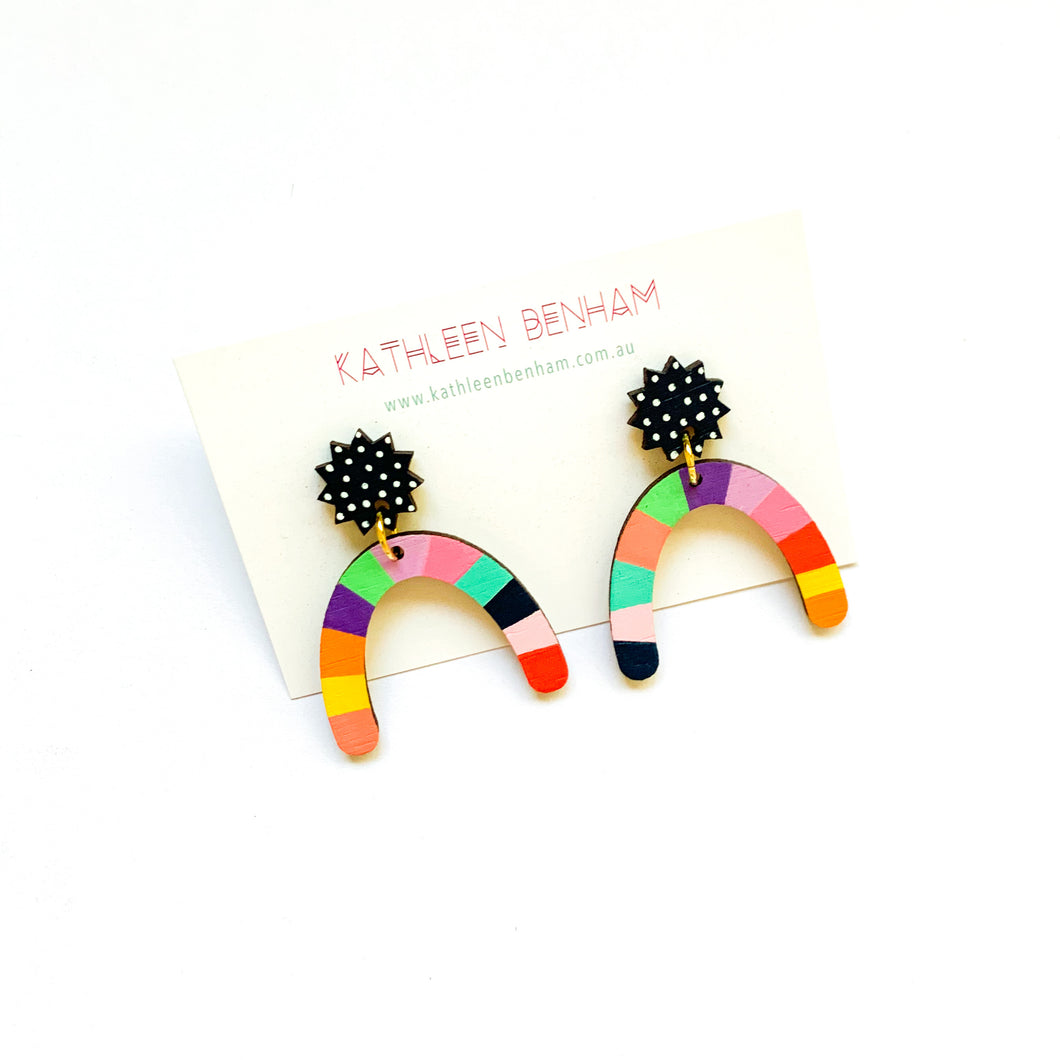 Loopy large horseshoe shaped wood earrings #4