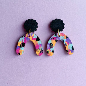 Imogen hand painted wood dangles Black