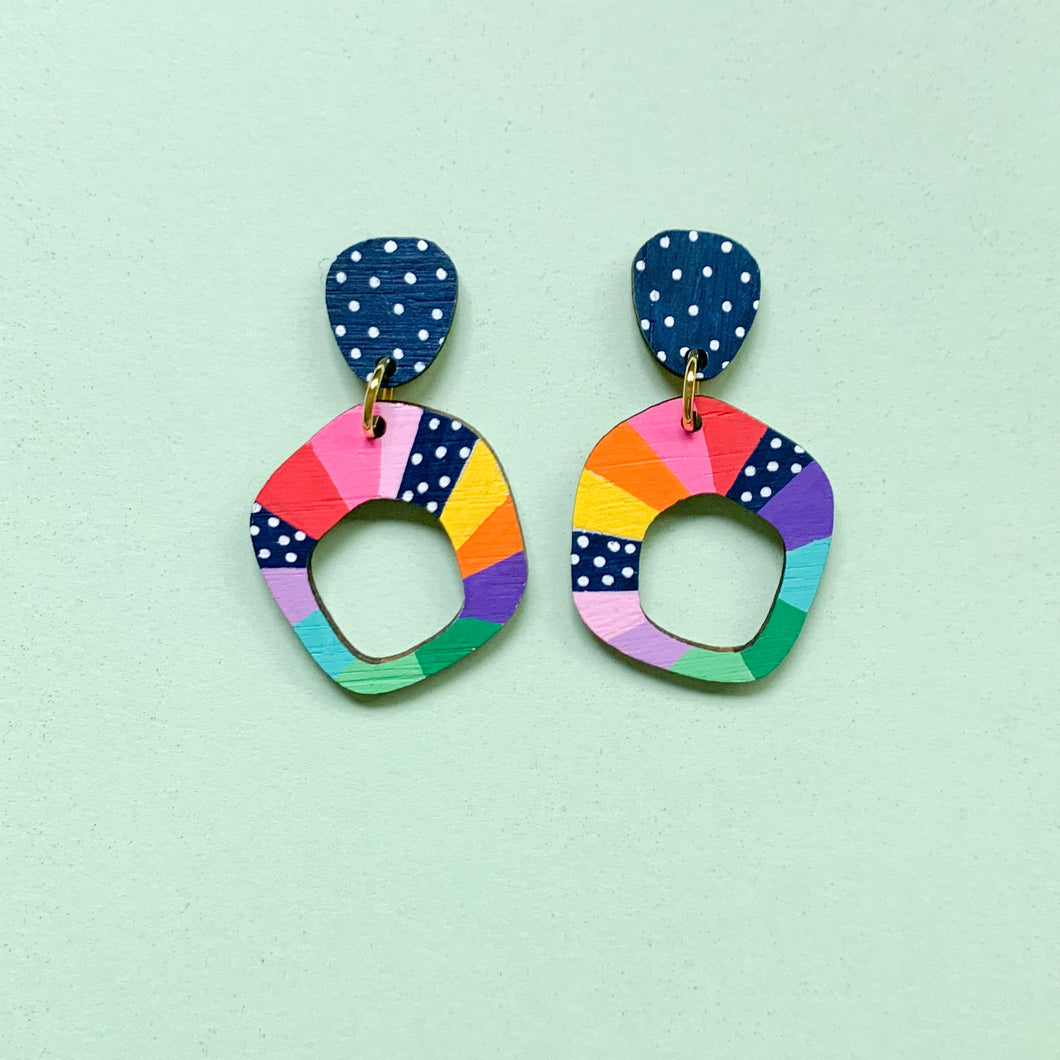 Loopy hand painted small organic shape wood dangles Multi 5