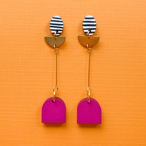 Riley hand painted wood dangles Magenta
