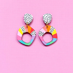 Loopy hand painted small organic shape wood dangles Multi 1