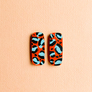 Layla hand painted leopard print wood studs Orange