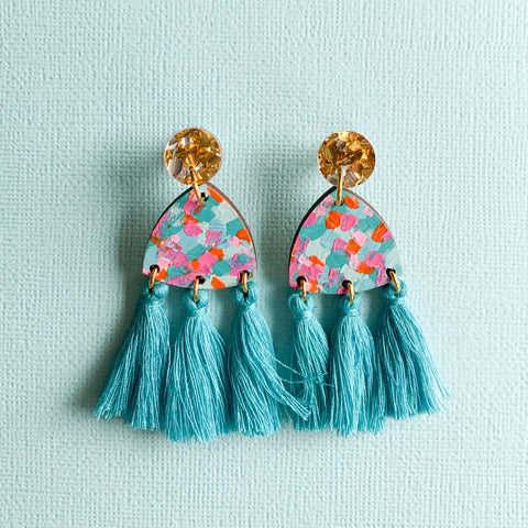 Giselle hand painted wood tassel earrings Turquoise
