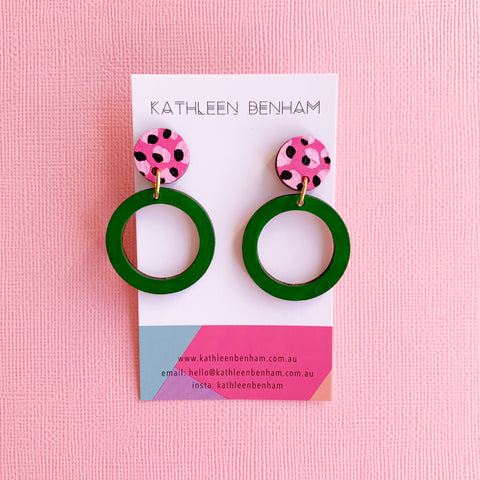 Hazel hand painted bamboo earrings Green