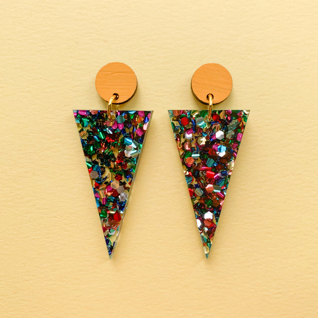Rainbow glitter acrylic triangle dangles - Yellow