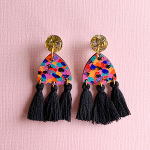 Giselle hand painted wood tassel earrings Black