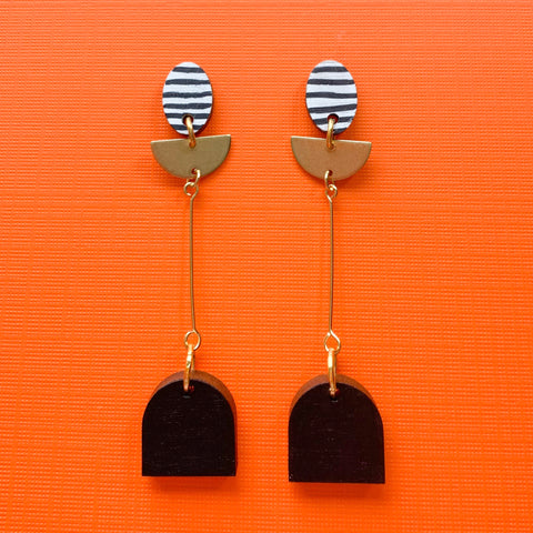 Riley hand painted wood dangles Black