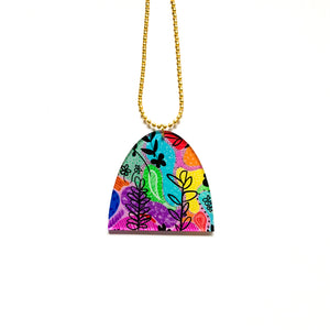 Garden party printed acrylic necklace #1